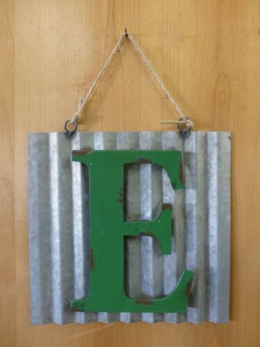 """10/"""" CORRUGATED INDUSTRIAL METAL SIGN LETTER /""""E/"""" GREEN vintage rustic wall decor"""