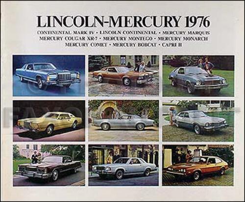 1976 Lincoln Mercury Sales Catalog Mark IV Continental Town Car Marquis Cougar