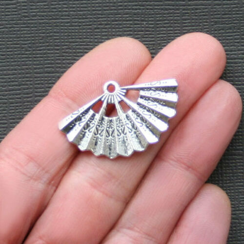 5 Fan Charms Antique Silver Tone 2 Sided SC2143