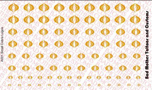 1//18 Scale Custom Waterslide Decals G.I Joe Cobra Logos METALLIC GOLD