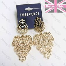 "HUGE 3""long FILIGREE CHANDELIER EARRINGS gold fashion LARGE METAL VINTAGE LACE"