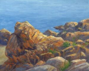 Nautical Ocean Coastal Rocks original 8x10 oil landscape art painting