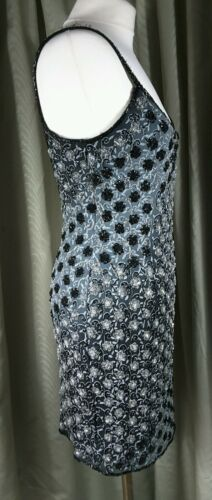Black Cocktail Twilight Silk Monsoon Beaded Eu40 Size Dress silver Uk10 wtCqPv