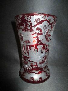 Ancien Vase Cristal De Bohème Taillé Rouge Décors Riche Château Chasse Xix ème 3rbpskux-07215549-976354033