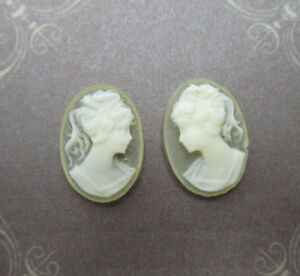 Women Double Head Cameos 40X30mm Oval Cabochons White Blue Resin Female Profile