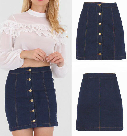 aa9b579006 Women Denim Pencil Skirt Jeans High Waist Button Down Front Short 6-16 UK  Dark Blue 14 for sale online | eBay