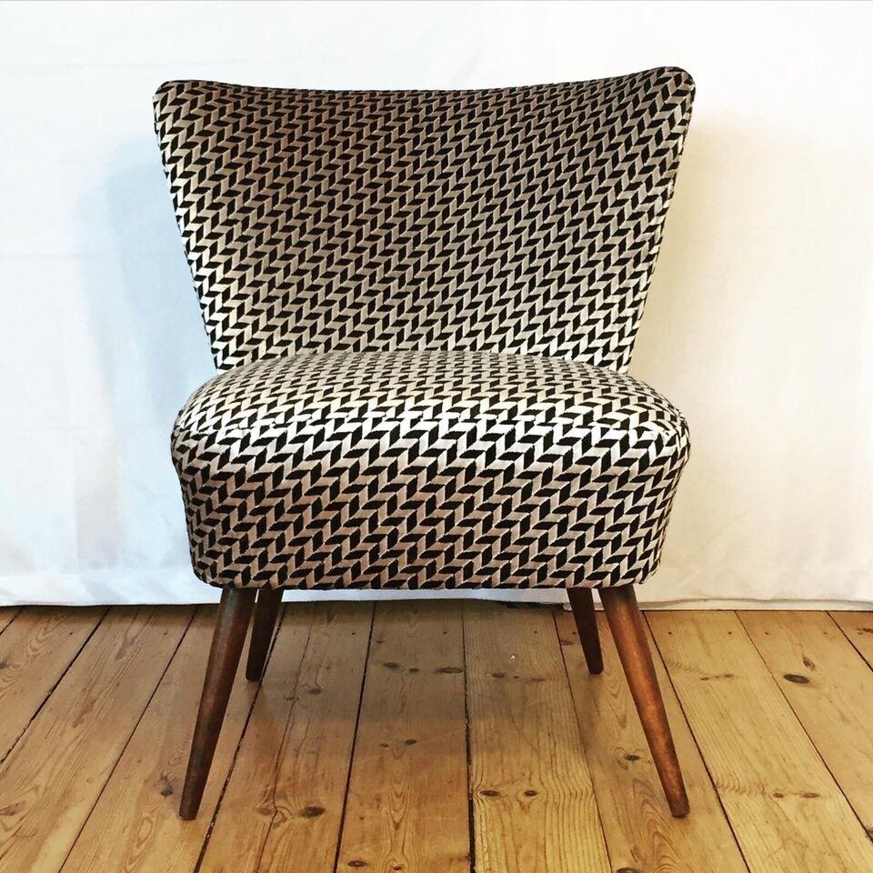 Loungestol, stof, Ny ompolstret 60'er stol