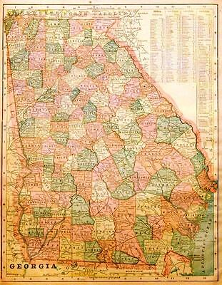 Show A Map Of Georgia.Beautiful Original 1899 Georgia Large Color Map 10x14 Ebay