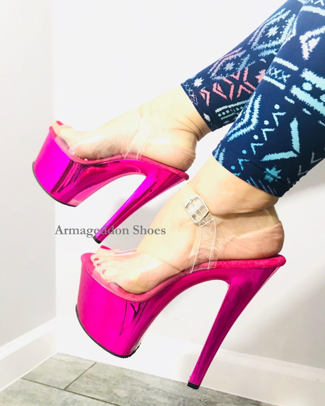nuovo stile 7  Hot Hot Hot rosa Clear Platform Heels Stripper Pole Exotic Dancer scarpe Pleaser Strap  la migliore moda