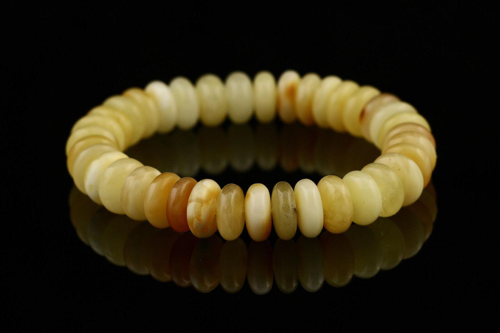 White Button Beads Genuine Baltic Amber Stretch Bracelet 8g b150813-18