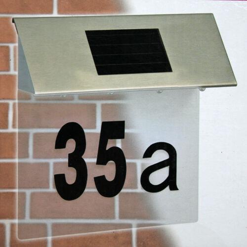 Edelstahl LED Solar Hausnummern Leuchte Außenlampe mit 4 LEDs, Solarleuchte