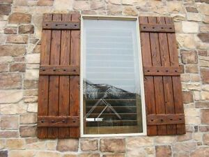 RUSTIC KNOTTY ALDER EXTERIOR SHUTTERS 4 PLANK 3 RAIL | eBay