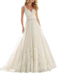Damen V Ausschnitt A Linie Spitze Applique Hochzeitskleider