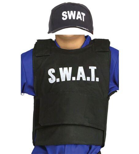 Bambini Ragazzi Ragazze SWAT GILET E Cappello Costume Bambini Libro Settimana Vestito da giorno