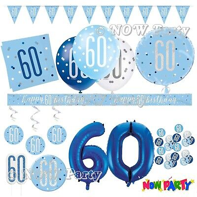 male happy 60th birthday party foil banner 60 today decoration blue banners