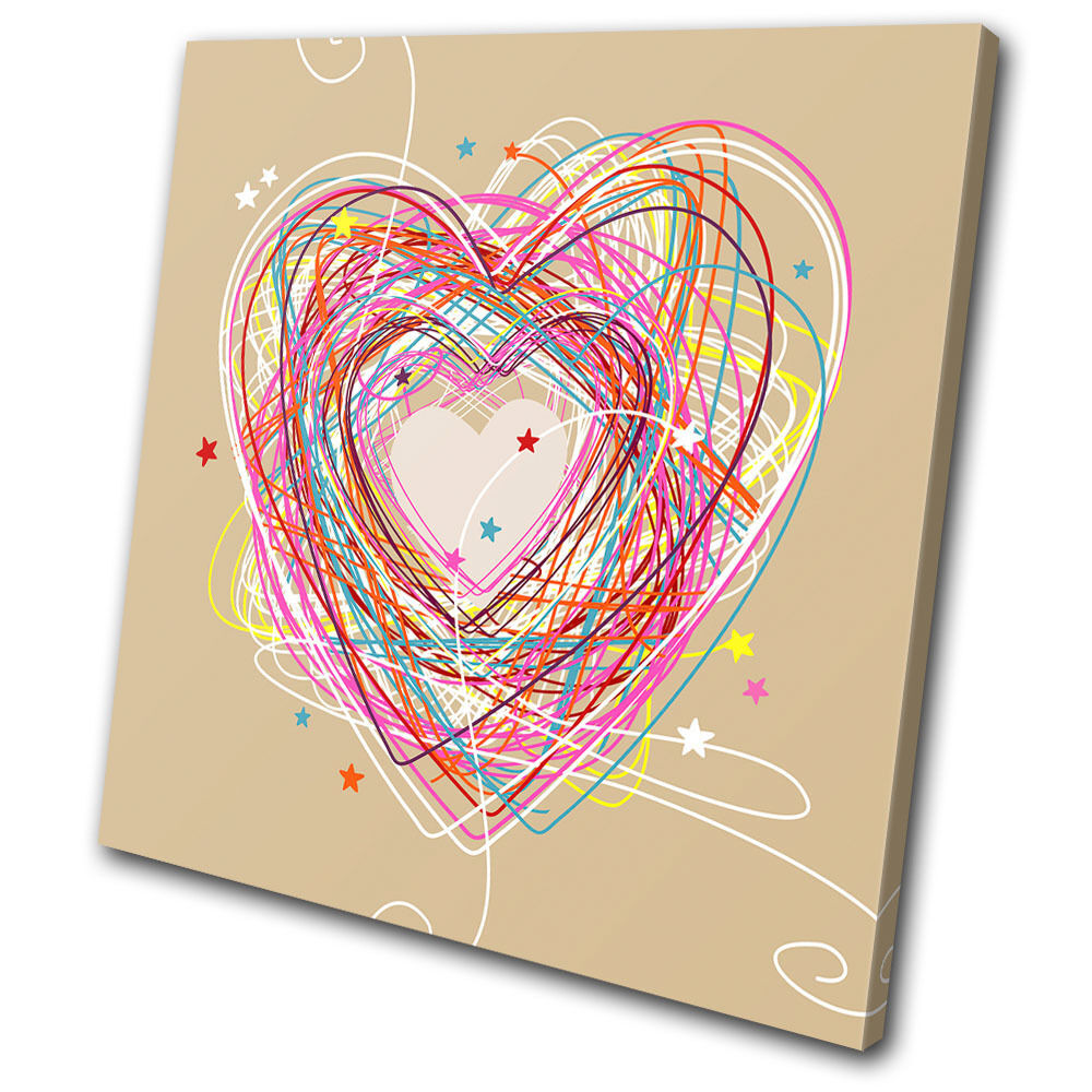 Love Sketch Heart    SINGLE TELA parete arte foto stampa 411ef5