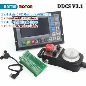 CNC 4 Axis 500KHz DDCS V3.1 Motor Motion Controller Stand Alone + MPG handhheel