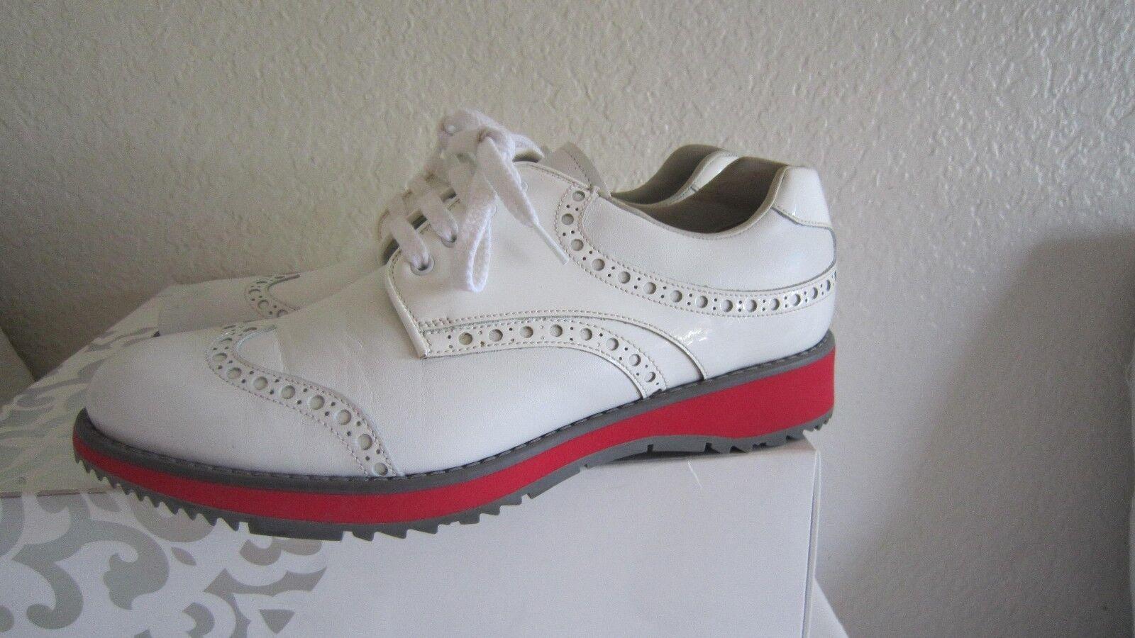Prada Wingtip bianca Leather/Patent Oxford Platform Scarpe da Ginnastica Shoes Sz 38.5 Us 8.5