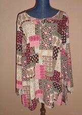 Denim & Company Beige Pink Patchwork Print Peasant Boho Tunic Top Size 3X