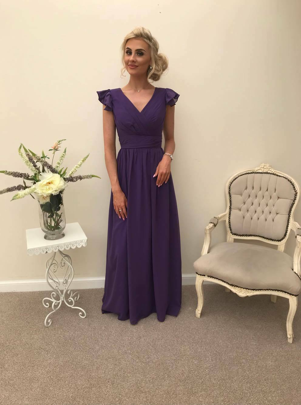 Cadbury Purple Chiffon Bridesmaid Maxi Prom Dress Wedding Party Ballgown Uk