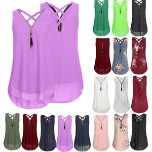 US-Women-Summer-Zipper-Vest-Top-Sleeveless-Cross-Back-Tank-Tops-T-Shirt-S-5XL