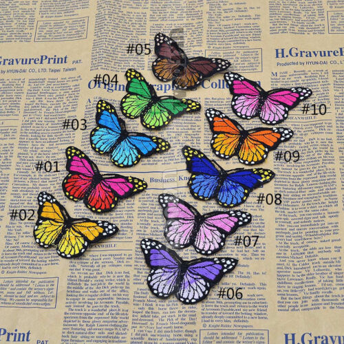Cute Butterfly Embroidered Applique Iron On Patch Craft Gift Red Pink Orange 1P
