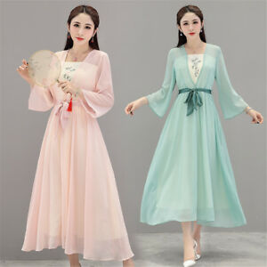 Chinese-Double-Layer-Embroidery-Loose-Chiffon-Women-039-s-Long-Gown-Shift-Dress-M-XL
