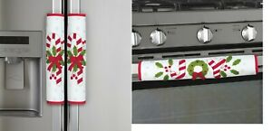 """Set of 3 """"JOY"""" Christmas Candy Cane Kitchen Appliance Handle Covers"""
