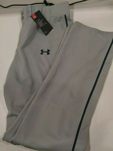 Under Armour Men/'s Relaxed Fit Piped Baseball Pants Gray//Navy Large