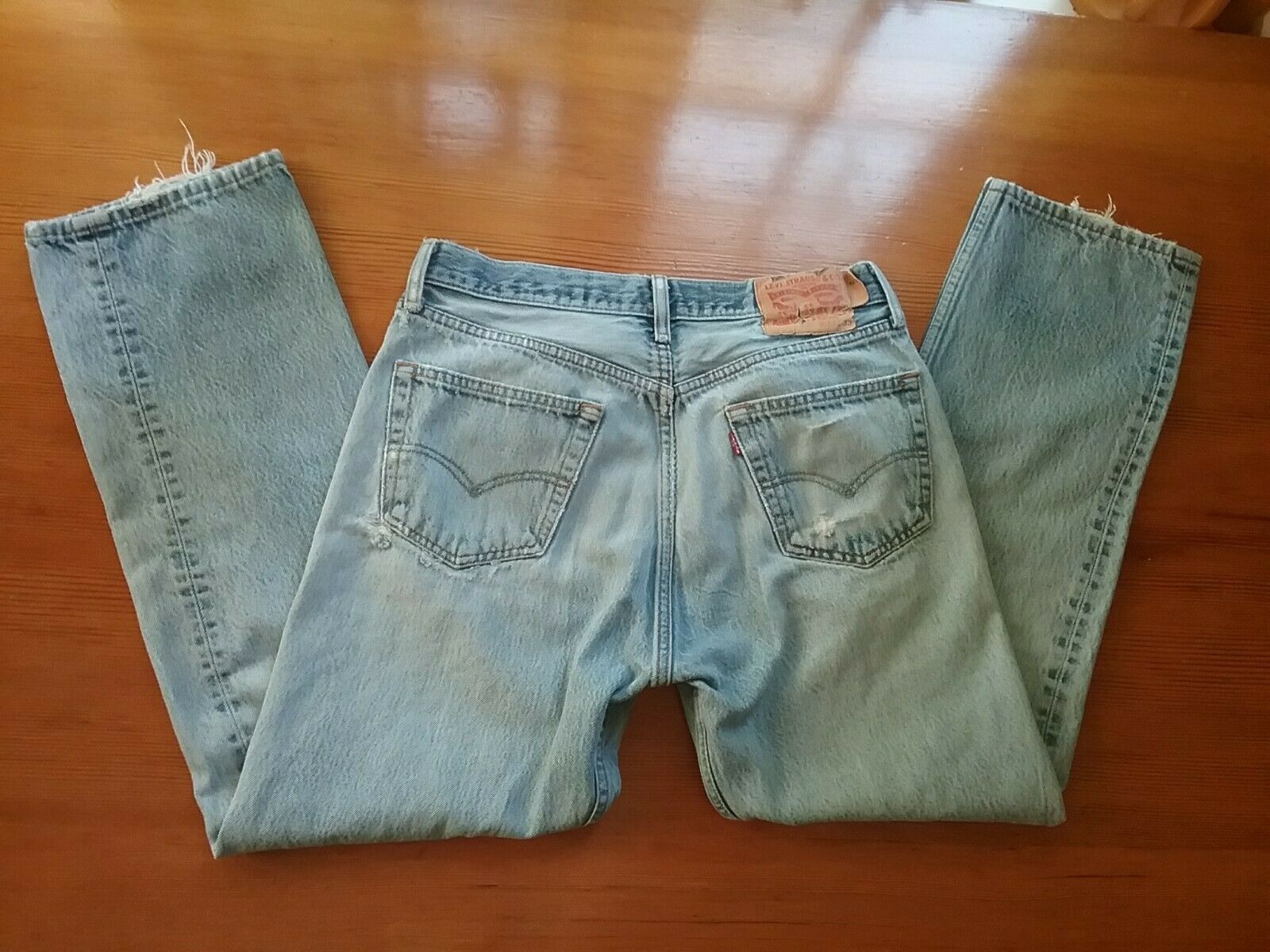 Levis 501 Jeans Distressed Destroyed Lt. Blue But… - image 1