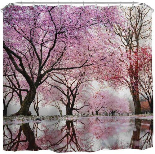 Shower Curtain Sets Hooks Japanese Cherry Blossom Bathroom Bathtub Accessories