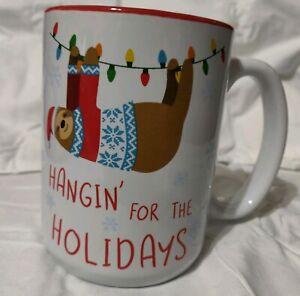 Matte Black Sloth Christmas Mug 18 Oz Need More Sloffee New