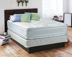 the sensation plush eurotop queen size mattress and box spring set. Black Bedroom Furniture Sets. Home Design Ideas