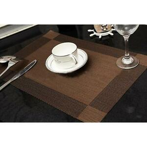 Rectangle pvc dining room table stain resistant protects plate insulation mat 6l - Dining room table mats ...