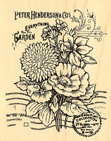 Flowers Garden Seed Catalog Collage Woodmounted Rubberstamp Stampendous R161