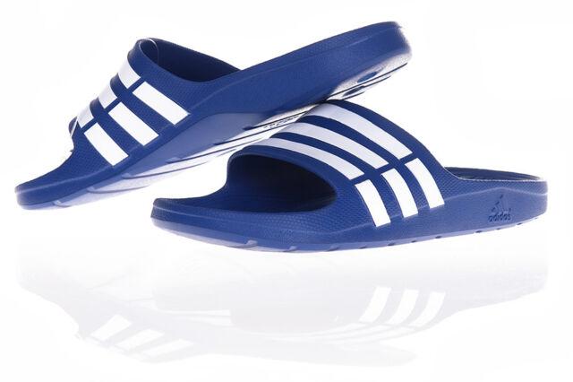 best service 92f2a 3f8f7 adidas Duramo Slide Navy Blue White Classic Mens Sports Slippers ...