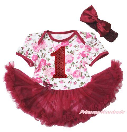 Bling 1ST Birthday Number Rose Girl Bodysuit Wine Red Skirt Baby Dress NB-18M