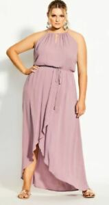 CITY-CHIC-Dress-Plus-Size-14-16-18-20-Dusty-Pink-Maxi-Party-Cocktail-Bridesmaid