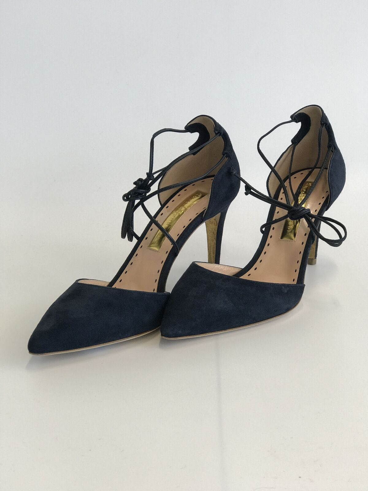 Rupert Sanderson London Irma Lace Up Pointed Toe Pumps - Size 38.5