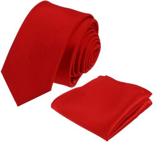 Krawatte mit Einstecktuch Krawatten Schlips Binder de Luxe Tie 583 Rot