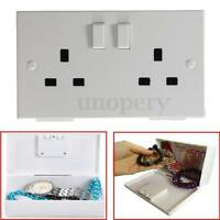 Wall Socket Box Electric Safe UK plug Money Jewelry Hidden Storage Box Security