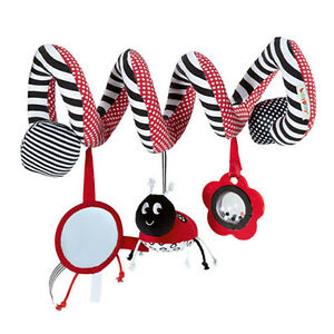 Baby Bed Around Pram Spiral Mirror Ladybird Hanging Rattle Plush Toy for Age 0-3