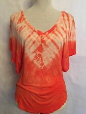 Freeloader By Free People Dolman  Sleeve Fitted Top Tie Dyed Coral Small
