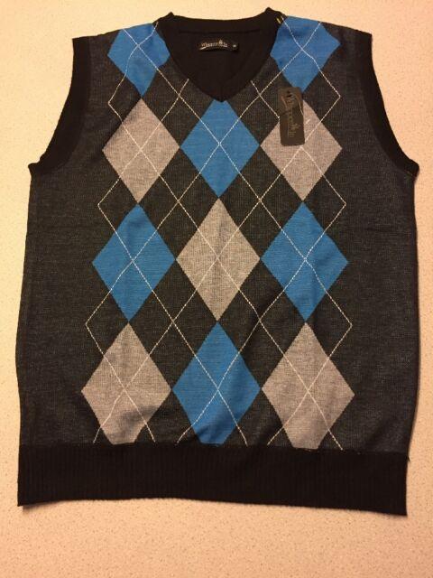 NWT NEW Men's Argyle V-Neck Sweater Vest Size M MEdium Whipper-In Black Blue M3