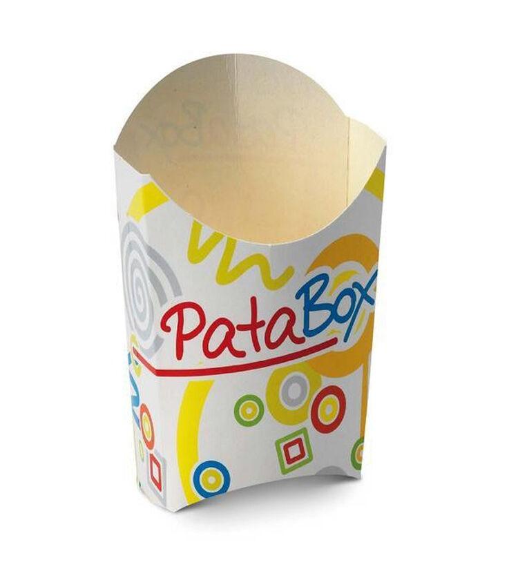 1000pz PATABOX PORTA PATATINE mini in cartone Coloreato 13cm x 12h NUOVO