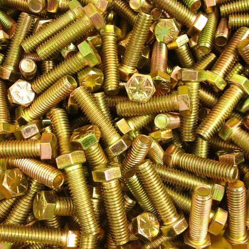 "7//16-14 X 1-1//2/"" Grade 8 Hex Head Cap Screw Bolt Yellow Zinc Steel USA Qty.25"
