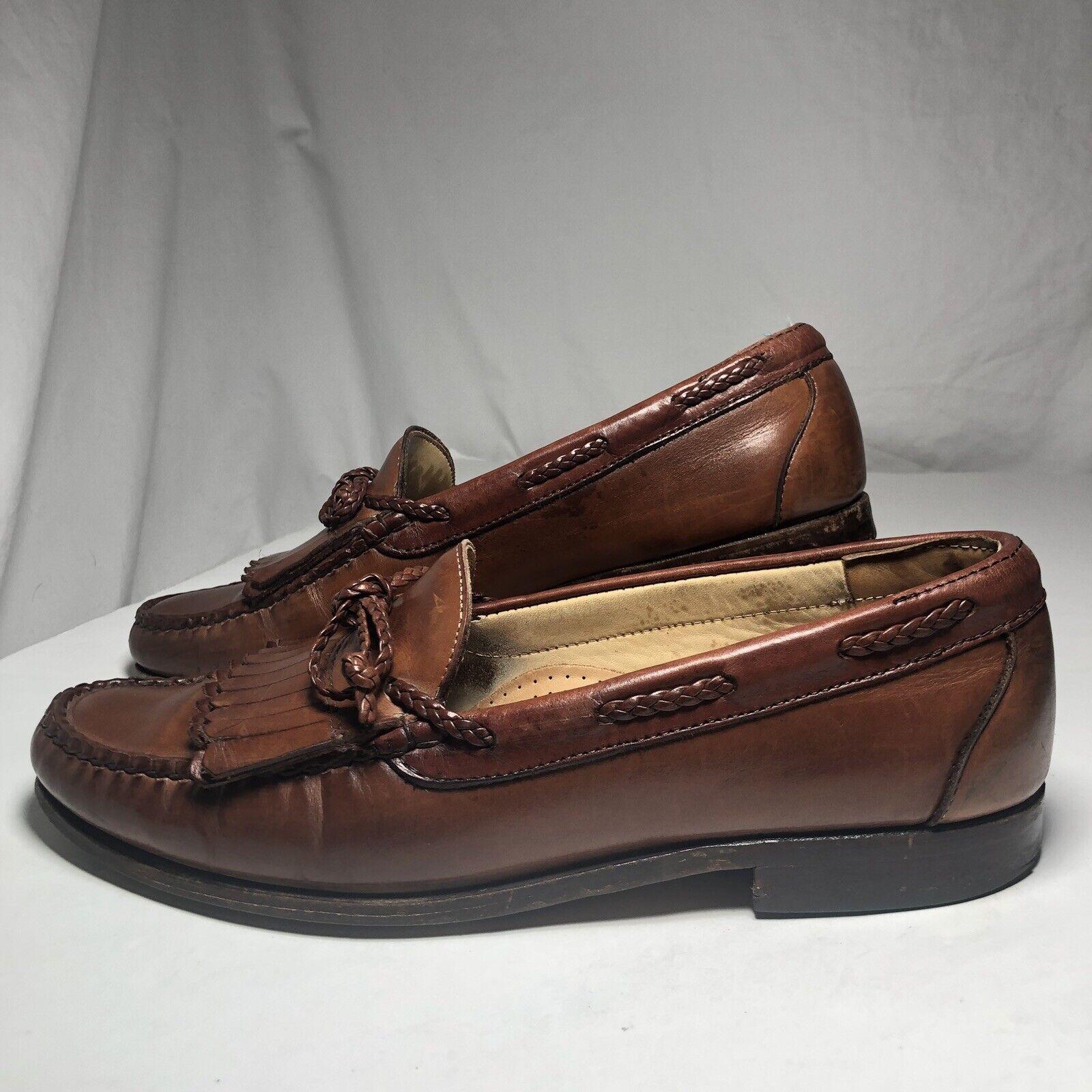 tuttien Edmonds Woodstock Marronee Leather Braided String Loafers 47213 sautope 10 C Sautope classeiche da uomo