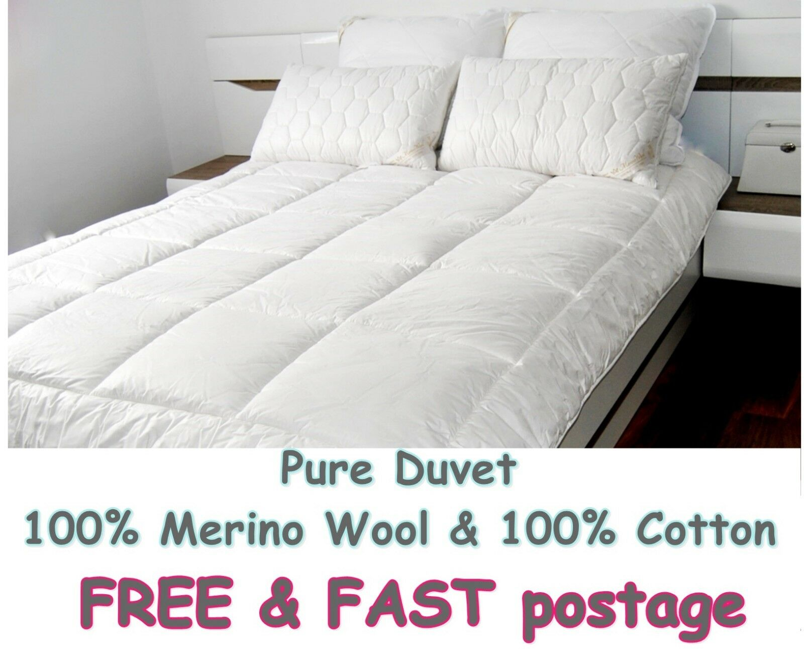 MERINO WOOL PURE DUVET QUILT COTTON BED 100% NATURAL ALL TOGS IN ONE ALL GrößeS
