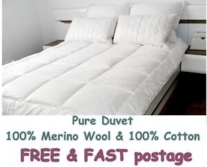 MERINO WOOL PURE DUVET QUILT COTTON BED 100% NATURAL 8-10tog  ALL SIZES 500gsm