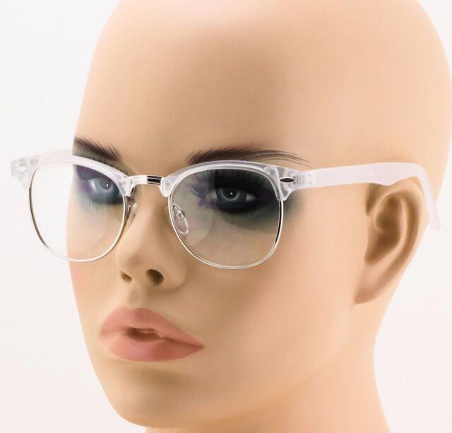 Retro Clubmaster Clear Lens Nerd Frames Glasses Mens Womens Half ...